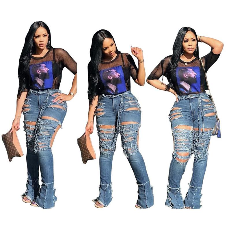 Grosir Desain Baru Wanita Biru Robek Denim Skinny Flare Bell Bawah Jeans