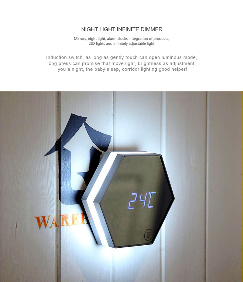 Fasion design LED Digital Alarm Mirror Clock  table wall with Easy-Read Display Diming light for Bedroom, Living Room, Office