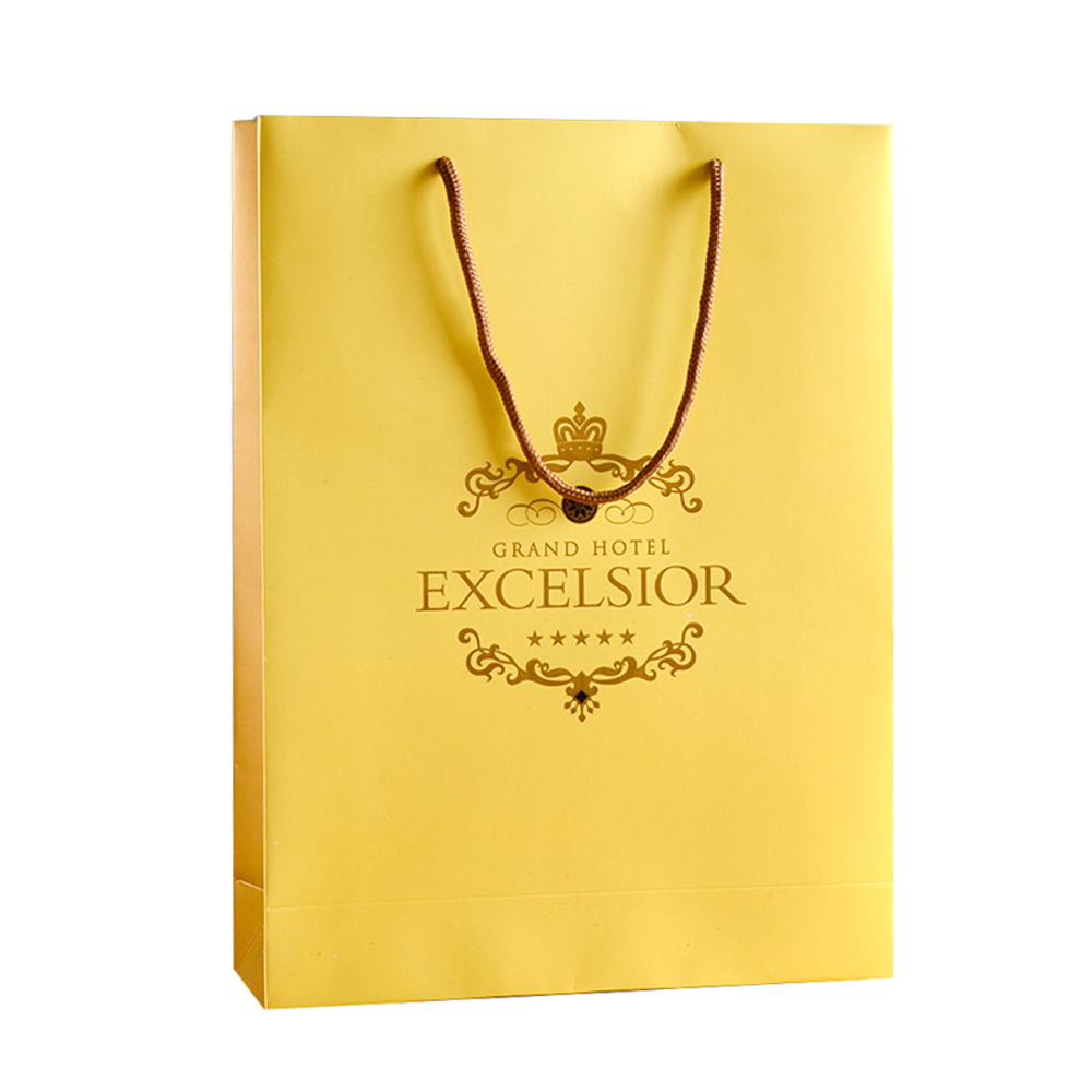 Excellent Quality Luxury Advertising Promotion Laminated Yellow  Cosmetic Custom Printed Paper Bag With Logo Print