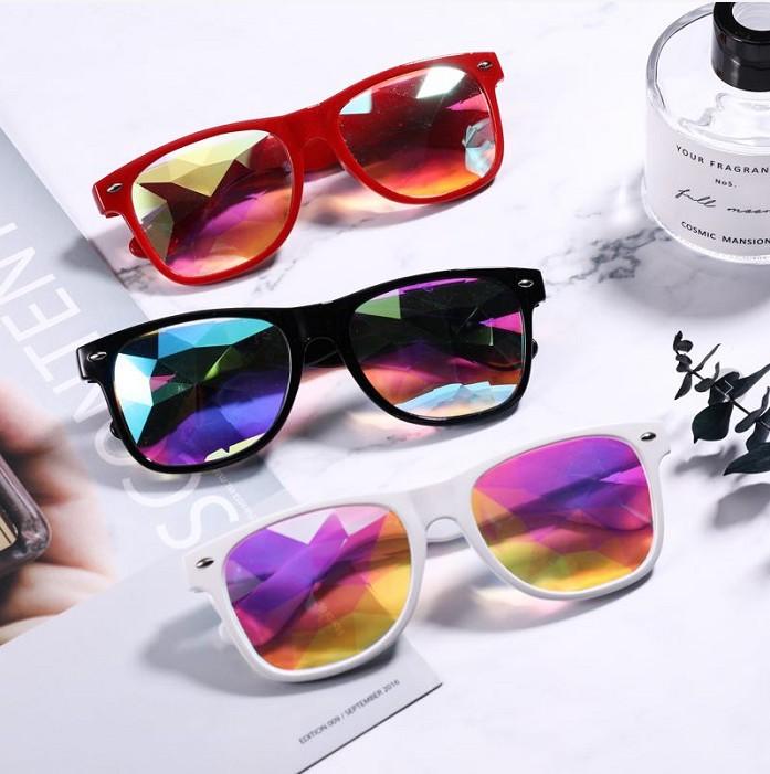 Лидер продаж низкая цена Калейдоскоп очки модные вечерние ночные шоу красочные мозаика солнцезащитные очки с заклепками