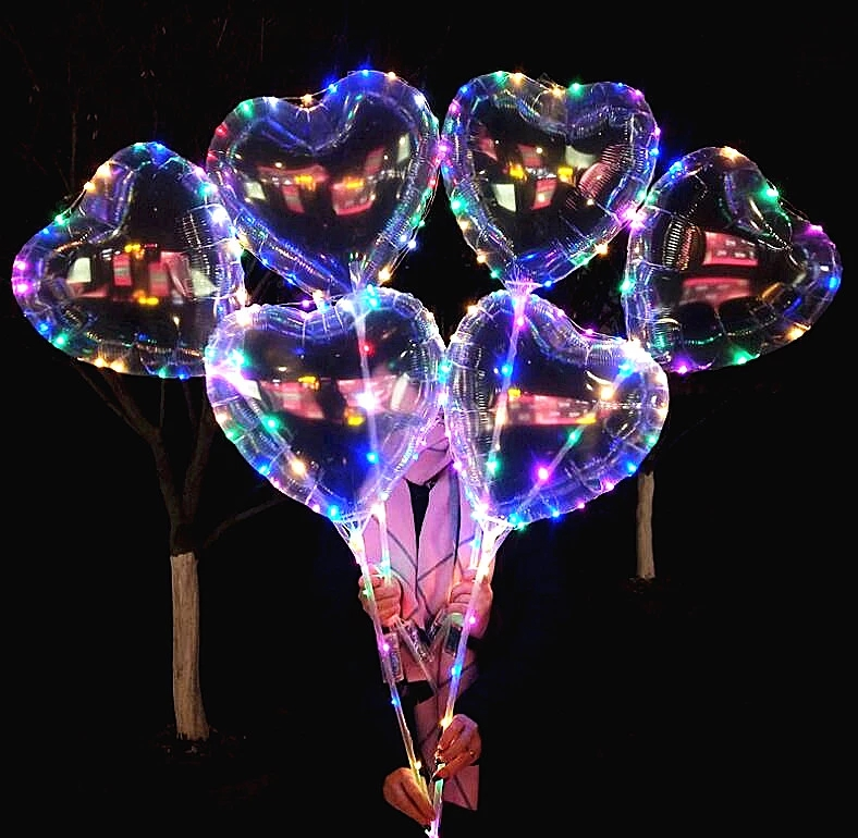 China led herz ballon Außerhalb blinkende led transparent herz bobo luftballons led nacht licht luftballons mit schalter