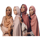 2019 New design hijab solid colors high quality plain chiffon hijab