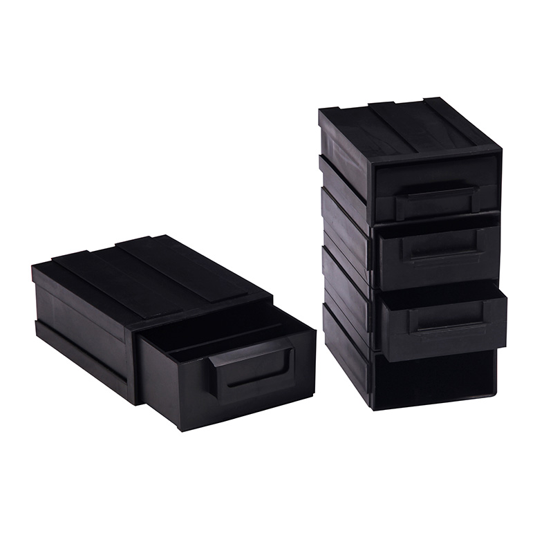 ESD Plastic Electronic Component Box Black Combination Drawer