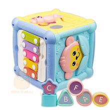 Многофункциональные Музыкальные игрушки ксилофон для малышей, музыкальная шкатулка для фортепиано, кубик для активного отдыха, геометриче...(Китай)