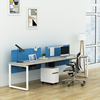 Simple Modern Style Extra Large Work Surface Computer Office Workstation Desk For Two Person With Pedestal For Home Office Use