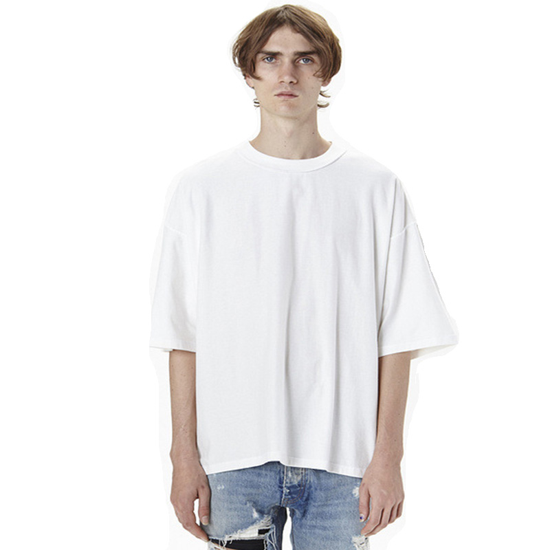 Wholesale 100% cotton  off shoulder Short Sleeve Fashion Casual Oversized Extended T Shirt