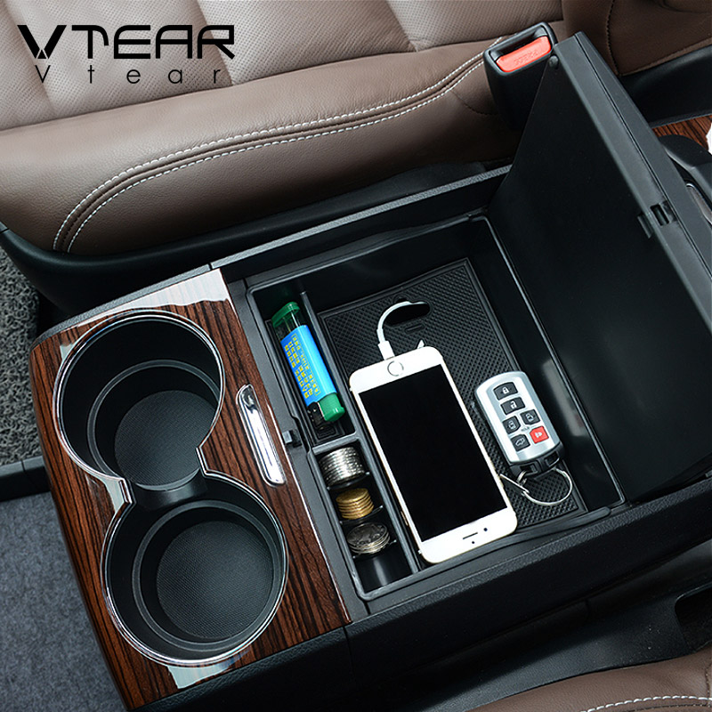 Vtear for Toyota Sienna <strong>car</strong> armrest storage box central container holder styling insert tray clapboard case auto accessories