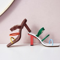 Colorful women shoes sandals square toe pretty green ladies high heels sandals 2020
