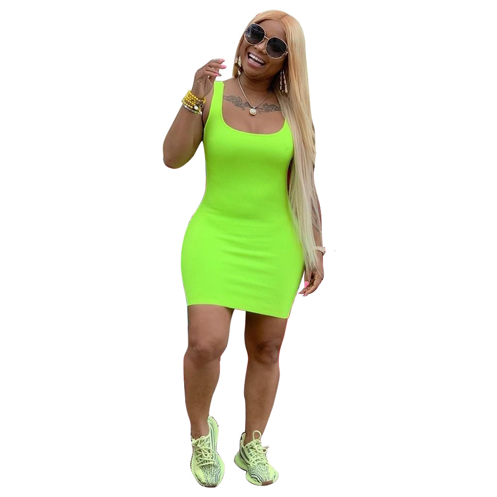 2020 Hot Sale Summer Sleeveless Soild Color Casual Solid Basic Bandage Bodycon Dresses For Woman