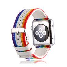 Нейлоновый кожаный ремешок correas для Apple Watch series 5 4 3 для iWatch Rainbow спортивный браслет reloj аксессуары 38 40 42 44 мм ремешок(Китай)
