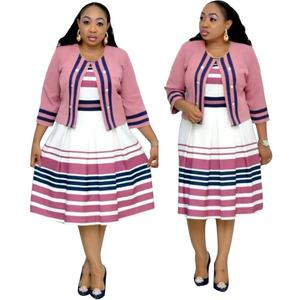 New Arrival Women Striped African Office Midi Pleated Dresses 2 Piece Set Coat Plus Size Dress
