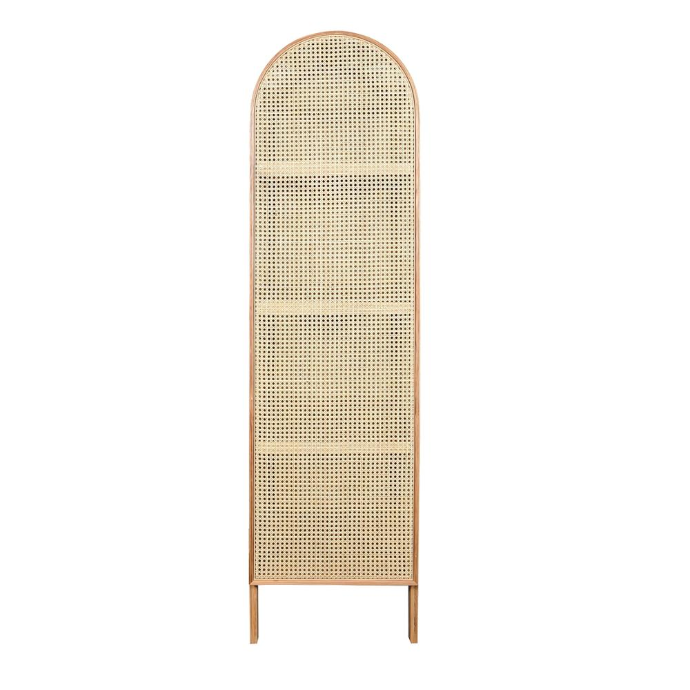 Nordic French Half Round 1 Door Rattan Cane Tall Wine Cabinet