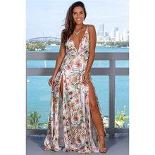 2020 весеннее платье цветочное сексуальное Макси платье длинное плиссированное платье с открытой спиной женское платье с v-образным вырезом ...(Китай)