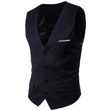 Мужской черный жилет, Приталенный жилет с v-образным вырезом, формальный деловой свадебный смокинг, 6XL, 2020(China)