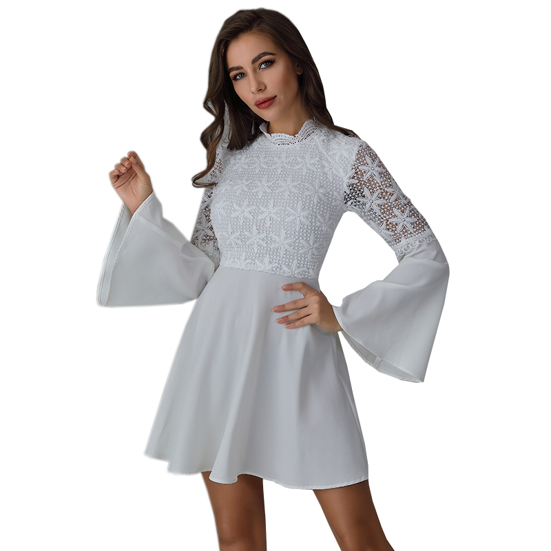 WEIXIN New Arrival <strong>Skater</strong> White <strong>Lace</strong> <strong>Dresses</strong> Wrap Lady Elegant Puff Sleeve Casual <strong>Dress</strong> Womens Clothing Shein