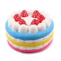 PU Foam Colorful Strawberry Cake Food Toy Big Jumbo Cake Squishy