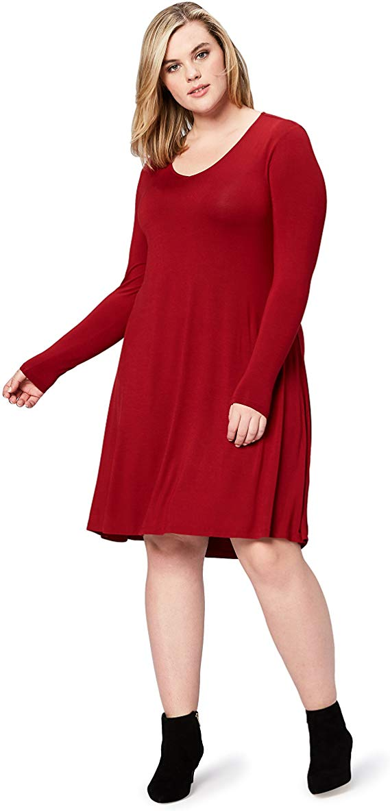 Women's Plus Size Jersey Long-Sleeve V-Neck Dress