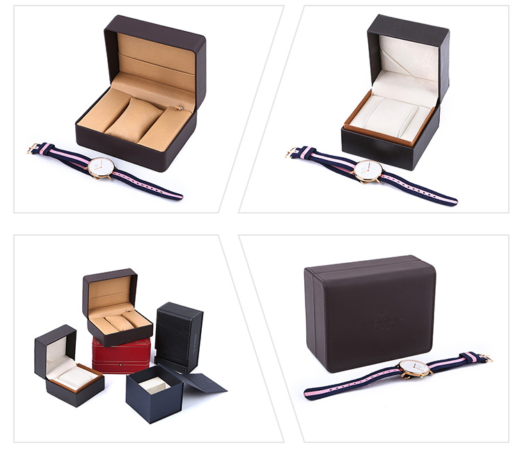 Promotional Custom Logo Handmade Leather Clamshell Gift Watch Box Packing With Cushion