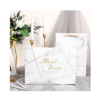 Luxury Marbled Design Gold Stamping Lines Paper Box Square Rectangle Gift Packaging Box