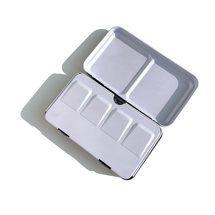 12 colors solid water colour paint pan cake set with portable tin box