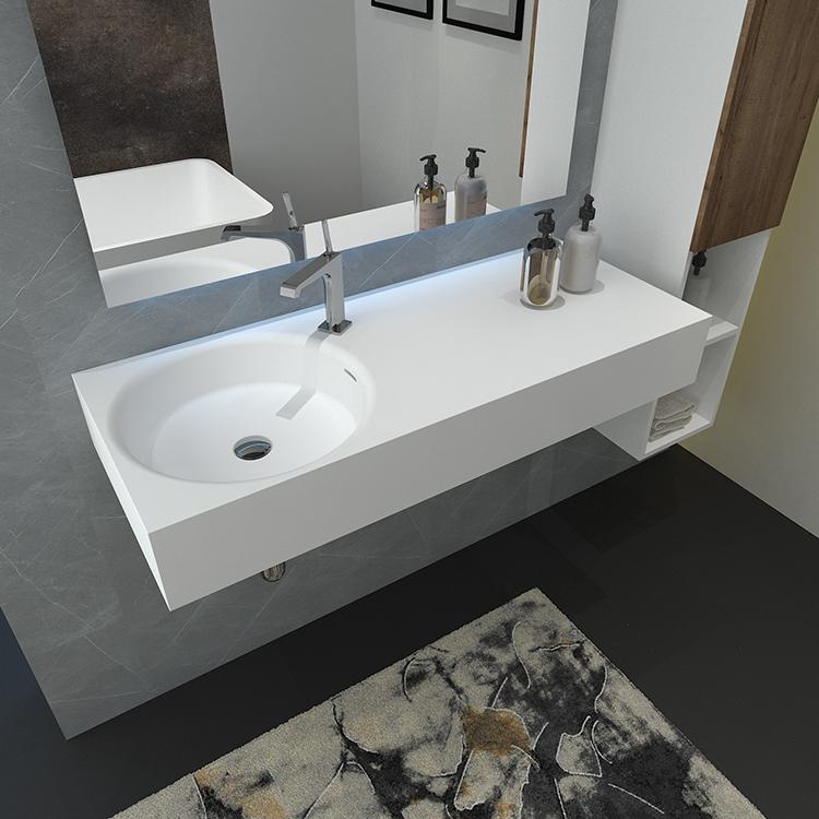 Europea artificial piedra resina barato del gabinete del cuarto de baño del montaje en pared cuenca