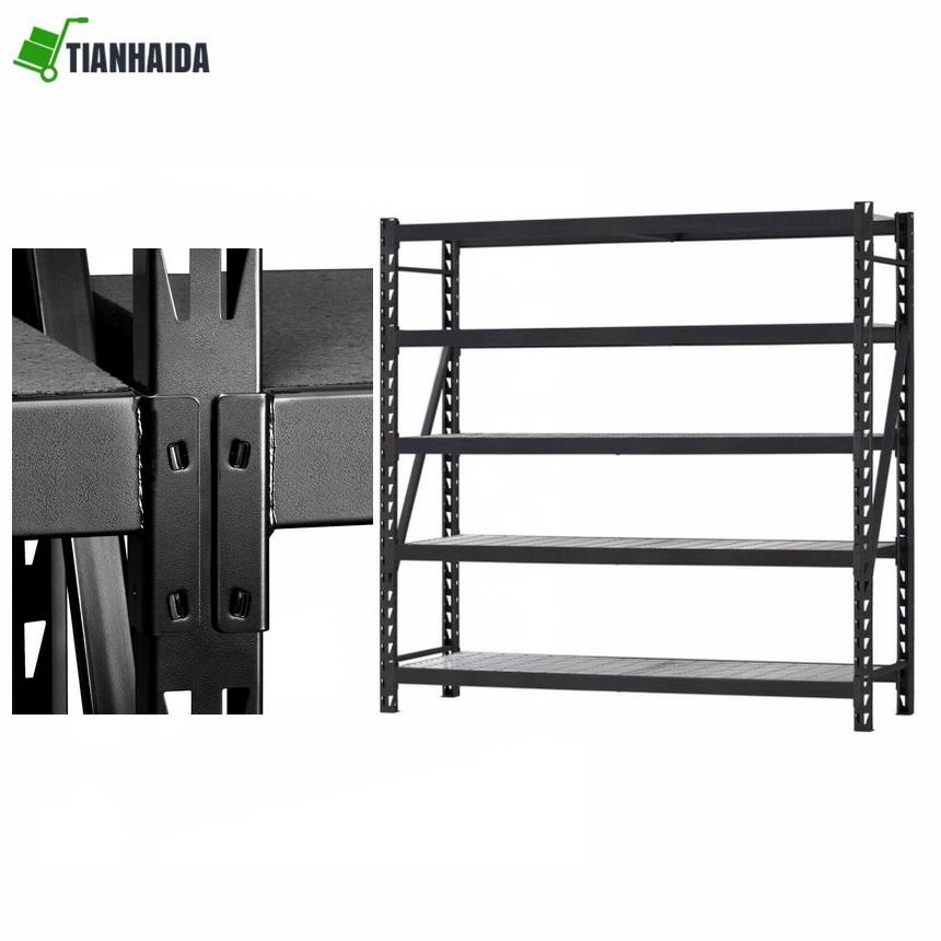 5Tier Racking Shelving Shelves Shed Organisation Storage Black Large 180x90x40cm