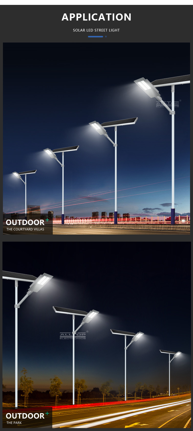 ALLTOP High efficiency waterproof IP65 outdoor lighting smd 90w 180w led solar streetlight