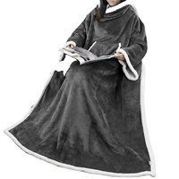 Lightweight Microfiber Plush Wearable Throw Blanket with Sleeves for Adult