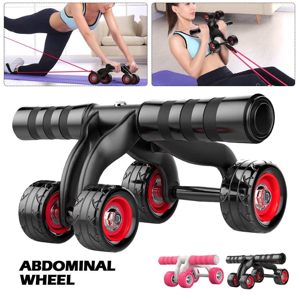 2-in-1 Ab Roller 4 Wheels Set Abdominal Abs Workout Fitness Machine Gym Muscle Training Exercise Wheel with Resistance Rope