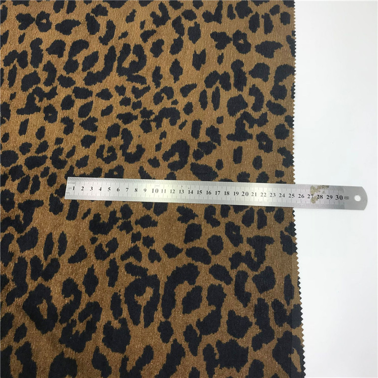 Factory price high quality 100% polyester leopard printed corduroy fabric