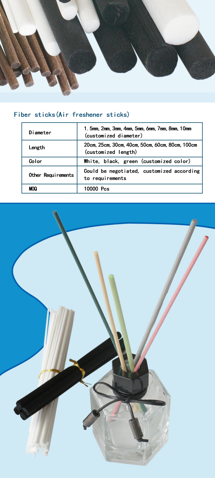 Factory wholesale free glue 2mm,3mm,4mm,5mm, fragrance reed diffuser fiber stick