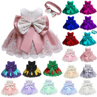 baby girl wedding dress New model fashion big bow birthday dress party wear lace designed evening little girls dress