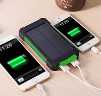 Solar Power Bank Dual USB Power Bank 10000mAh Waterproof Battery Charger External Portable Solar Panel with LED Light