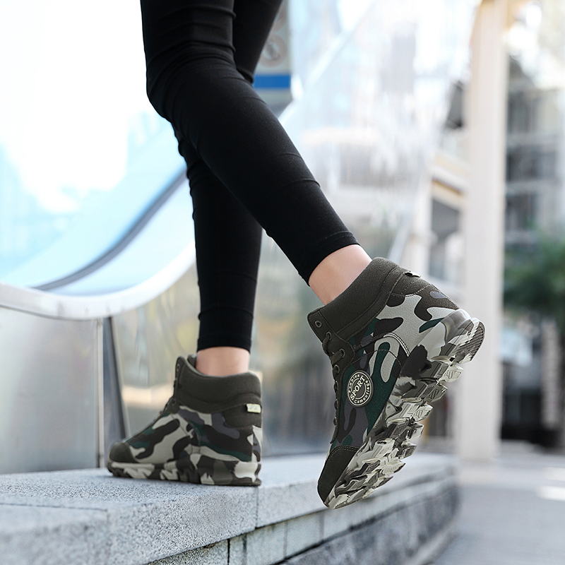 Big size Wholesale Camouflage female fashion platform height increasing wedges shoes ladies women casual sports shoes sneakers