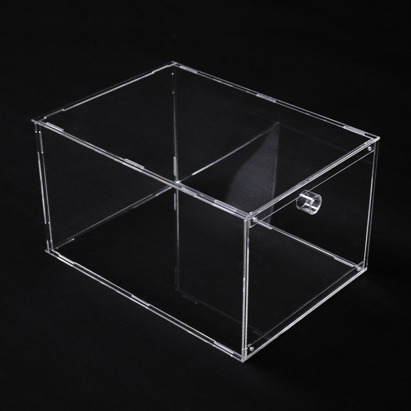 Clear Detachable Plastic Magnetic Sneaker Display Portable <strong>Acrylic</strong> Drop Front Shoe Box Foldable