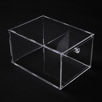 Clear Detachable Plastic Magnetic Sneaker Display Portable Acrylic Drop Front Shoe Box Foldable