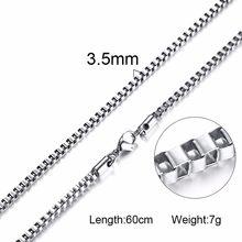 Серебряное Квадратное звено коробки и слиток цепочка на шею для мужчин чокер из нержавеющей стали с 21-24 дюйма (2,1 мм-5 мм в ширину)(Китай)