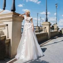 SoDigne vestido de noiva 2020 сексуальное свадебное платье с v-образным вырезом и 3D цветочной аппликацией цвета шампанского ТРАПЕЦИЕВИДНОЕ свадебное пл...(Китай)