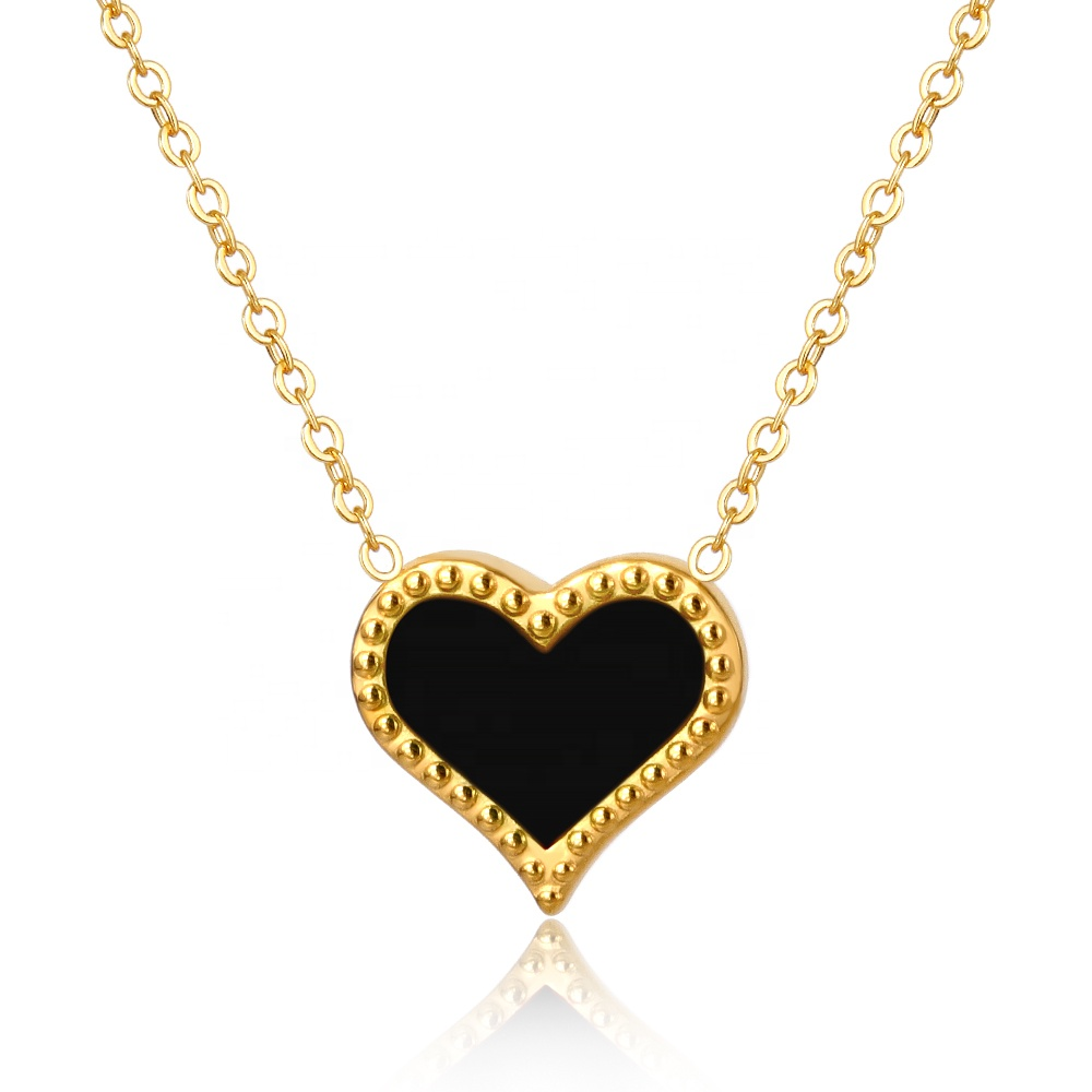 MSX 18k gold plated fashion black epoxy christmas heart necklace women jewelry