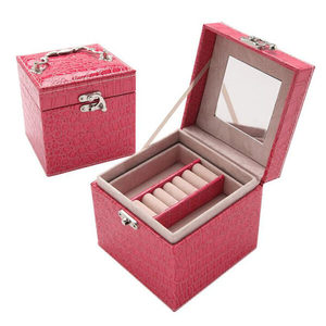 HB018 Wholesale custom portable luxury jewellery box make up case jewelry case travel