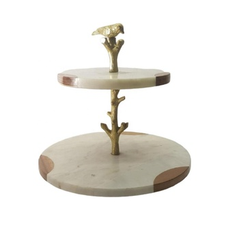 Marble Wood Joined Great Combination Two Tier Cake Stand