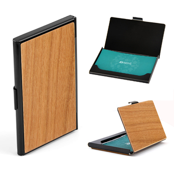 Hot Sale Real Wood Business Card Case, Metal Wooden Name Card Holder