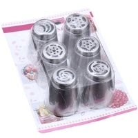 Icing Piping Set with 6 Stainless Steel Nozzles Cake Decorating Cupcake Piping Pastry Tips