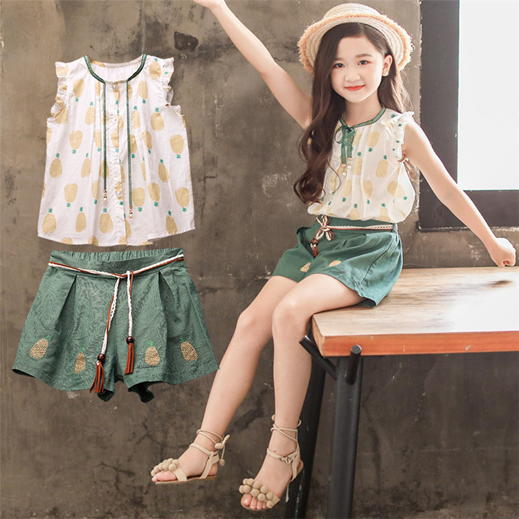 Thailand girl clothes wholesale factory price kids girl clothing sets