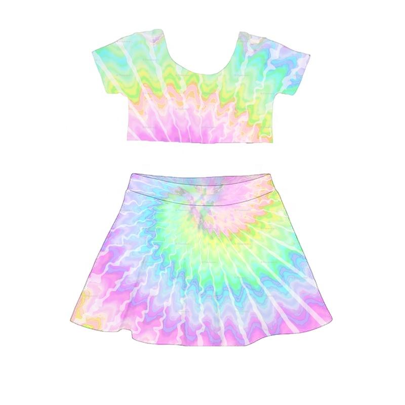 Bán Buôn Thời Trang Áo Váy Casual Little Girl Ruffle Dresses Bé Gái Crop Set
