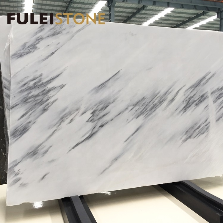 Chinese landscape white marble with grey veins big slabs