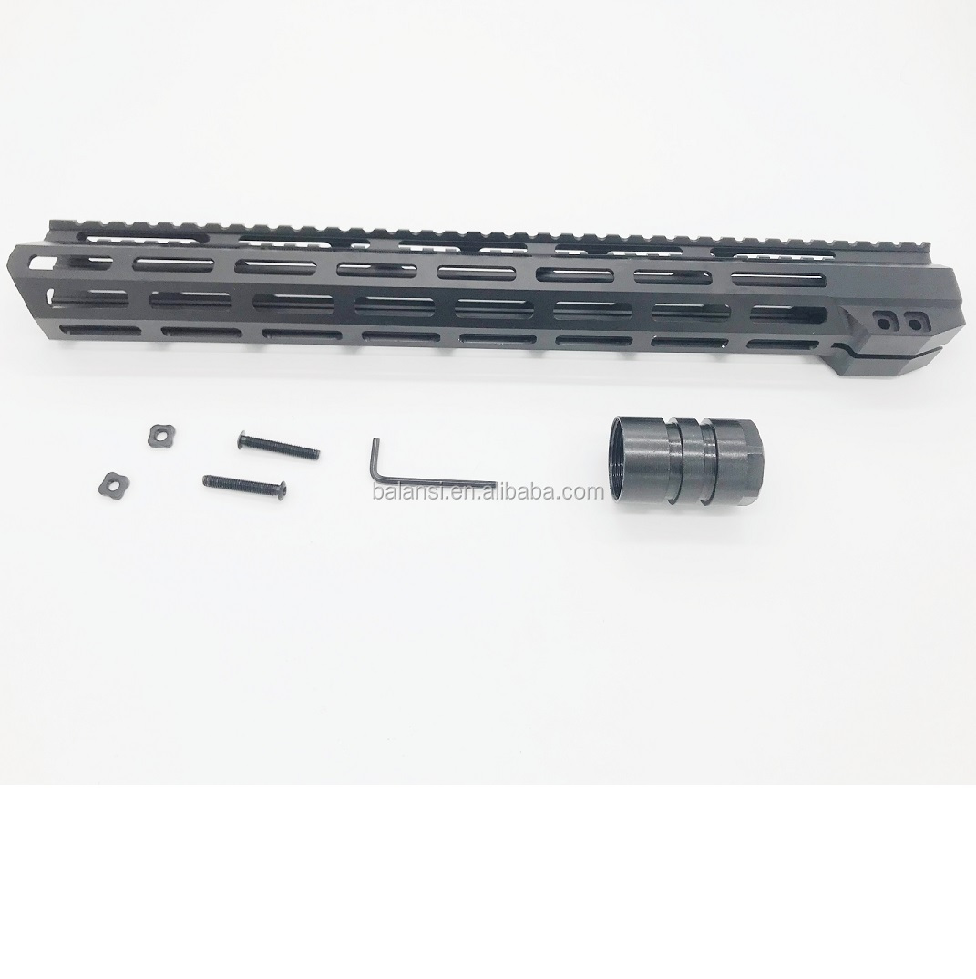 15 inch mlok handguard Free Float Super Slim ar 15 Handguard Quad Rail W/ Nut Fit .223 for AR15 M4 M16, Black