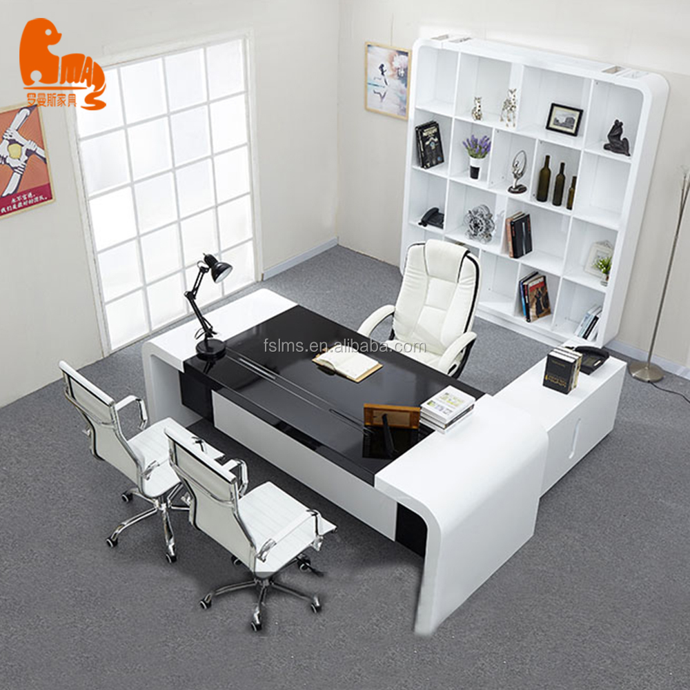 2019 MDF office furniture executive CEO office table with cabinet storage