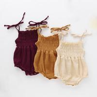 2020 New Korean Hot Style Cotton and Linen Solid Color Cute Spaghetti Strap Baby Girl Romper
