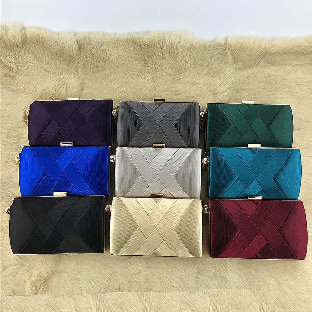 product-New Arrival Silk Satin Metal Tassel Lady luxury evening clutch bags chain wedding party mone-4